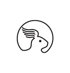 Rabbit wing ear side retro vector