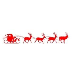 Santa sleigh reindeer red silhouette vector image vector image