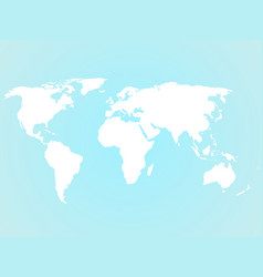 Simplified white world map silhouette on turquoise vector