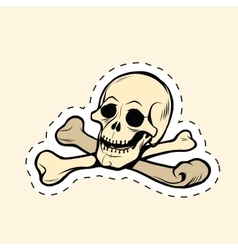 Skull and bones jolly roger label sticker vector