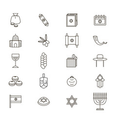 symbol of israel thin line icon set vector image vector image