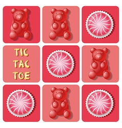 Tic-Tac-Toe of strawberry cake ball and jelly gum vector image