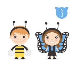 Two happy cute kids characters boy in bumblebee vector