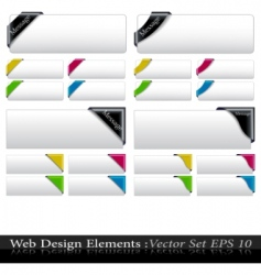 vector colored corner ribbon set vector image