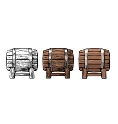Wooden barrel Color vintage engraving and flat vector image vector image