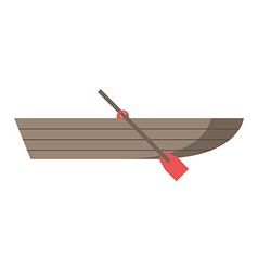 Wooden boat with oar vector