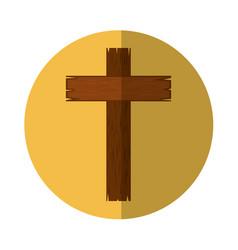 Wooden cross religious icon vector