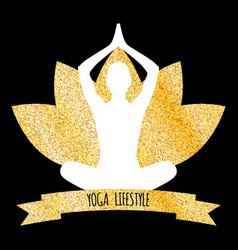 yoga lifestyle of glitter golden background vector image vector image