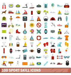 100 sport skill icons set flat style vector