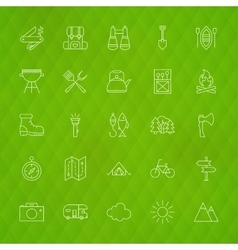 Family camping line icons vector