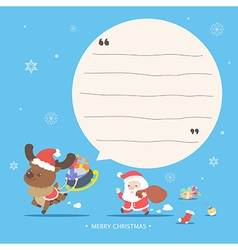 Santa and reindeer character - merry christmas gre vector