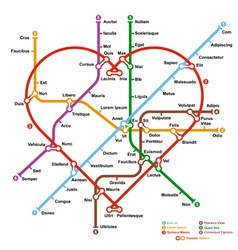 Fictional metro map in shape of heart vector