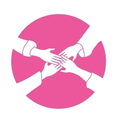 emblem hands of women together image vector image