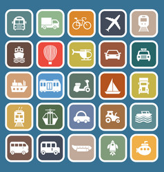 Transportation flat icons on blue background vector