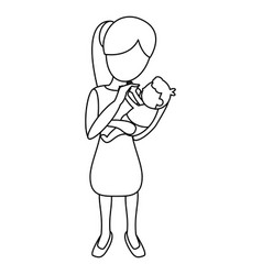mom carrying little baby outline vector image