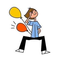 Boy holding balloon vector