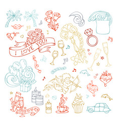 Set of outlined valentines icons signs and symbols vector