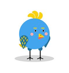 Cute cartoon blue bird character in geometric vector