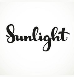 Sunlight calligraphic inscription on a white vector
