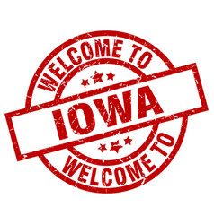 welcome to iowa red stamp vector image
