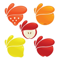 Fresh fruits and berries vector