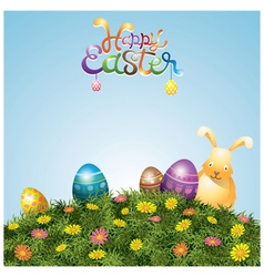 Easter eggs and bunny on green grass hill vector