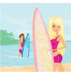 Beautiful girls with surfboards at a beach vector