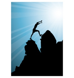 climbing on top of mountain vector image