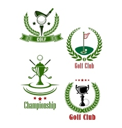 Golf club and championship emblems vector