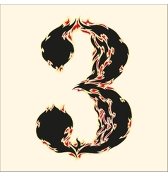 Fiery font number 3 on white vector