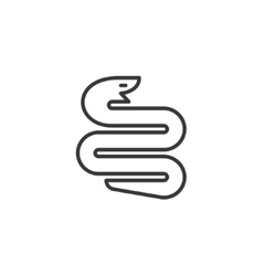 Snake symbol twisted into the geometric shape sign vector