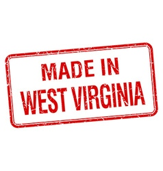Made in west virginia red square isolated stamp vector