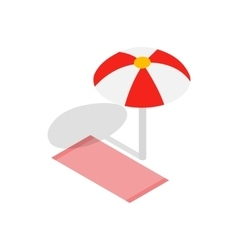 Beach towel and umbrella icon isometric 3d style vector