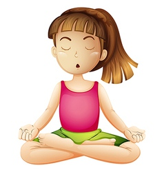 A young lady doing yoga alone vector image