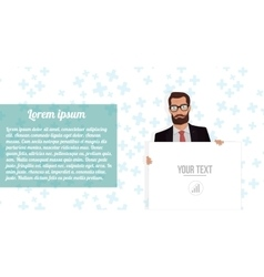 Businessman with board website on white vector