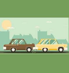 Car crash two cars hit flat design vector