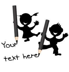 Children silhouettes with pencils in their hands vector image vector image