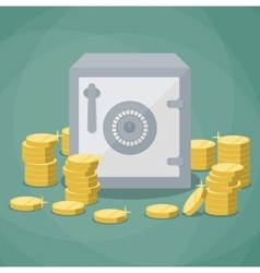 closed small safe box and stacks of gold coins vector image vector image
