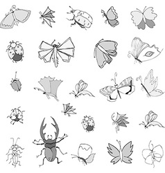 Collection of hand drawing insects vector image