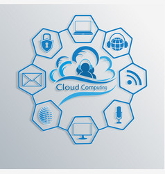 Computer cloud with attributes of the internet vector