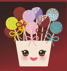 Cute funny kawaii colorful sweet cake pops set vector