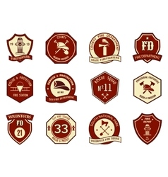 Fire department logo and badges vector image