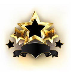 Five stars with black ribbon vector