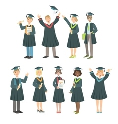 Graduating Students In Black Mantle Set vector image