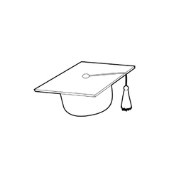 Hat student icon outline style vector