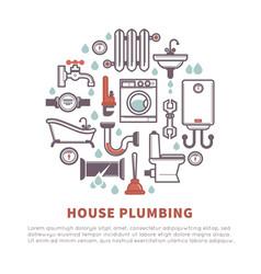 house plumbing of bathroom and kitchen vector image