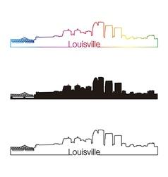 Louisville skyline linear style with rainbow vector