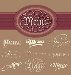 menu headlines vector image