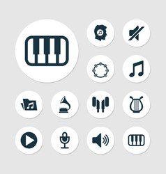Music icons set collection of music lyre vector