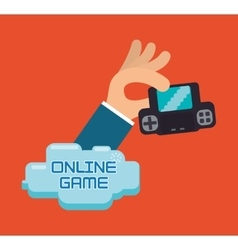 Online game hand hold console portable vector